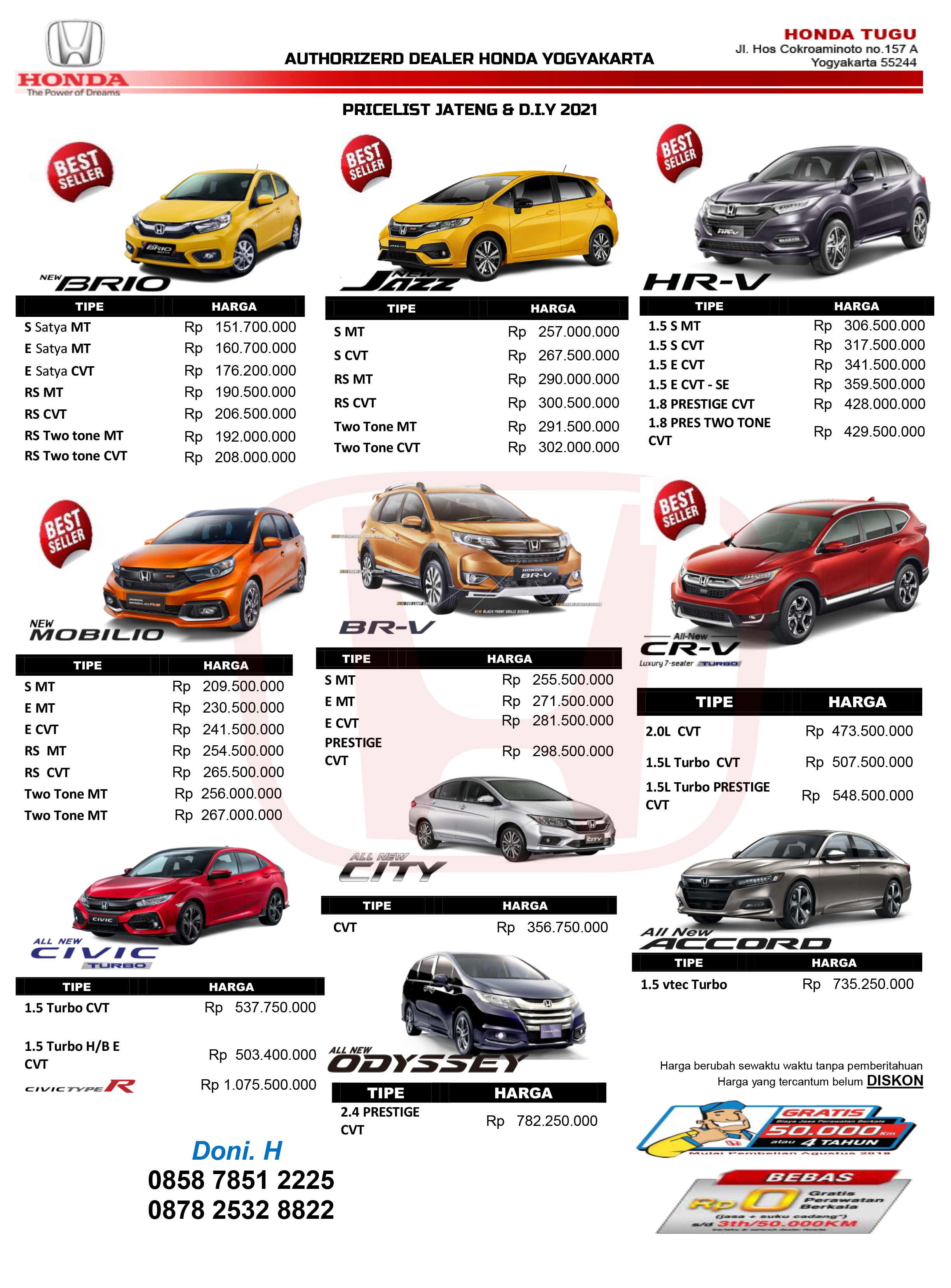 Pricelist Honda Jogja Info Honda Jogja Dealer Resmi Mobil Honda Yogyakarta